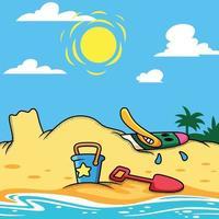 Duck relaxes on beach vector cartoon illustration.