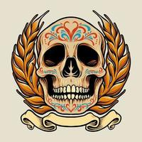 Mexico Skull with Banner Illustration vector