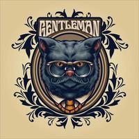 Grey cat gentleman with glasses and frame ornaments vector
