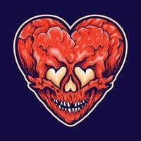 corazón roto amor cráneo aislado vector