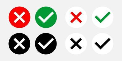 Set of Yes and No or Right and Wrong or Approved and Rejected Icons with Check Mark and Cross Symbols. Vector Image.