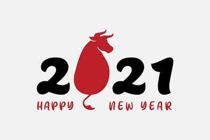 Chinese zodiac symbol of new 2021 year painted in chinese style. Holiday vector illustration. Isolated on white background.