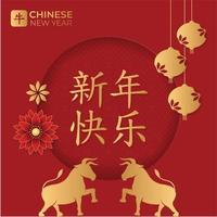 tarjeta de felicitación de año nuevo chino vector