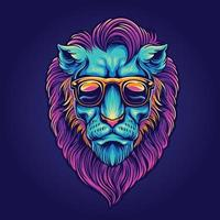 Psychedelic lion head portrait with sunglasses vector