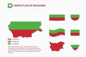 mapa y bandera de bulgaria vector