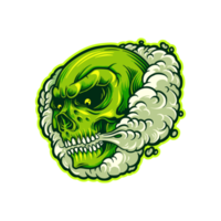 Green Skull in Smoke Cloud Illustration vector