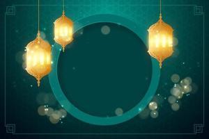 fondo árabe con linterna vector