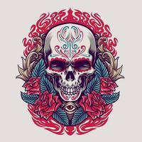 Dia de los muertos Mexican skull illustration vector