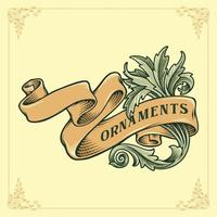 Vintage Victorian Ribbon Banner and ornament in Engraved style vector