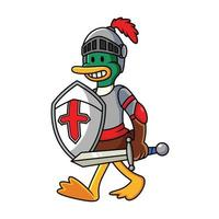 Knight duck vector cartoon illustration. Animal costume icon concept isolated in white background.