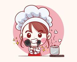 Smiling happy Female pastry chef. Woman chef is cooking. Hand drawn vector illustration