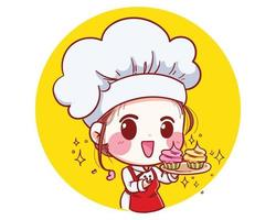 The little bakery girl chef is happy and smiling, tasty and sweet smile vector illustration