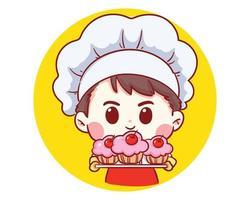 Cute Bakery chef boy Holding cake smiling cartoon art illustration vector