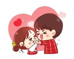 Cute girl kissing boy on cheek Happy valentine cartoon character illustration vector