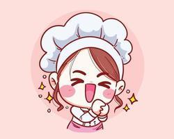 Cute chef girl Smiling fun thank you cartoon Vector art illustration