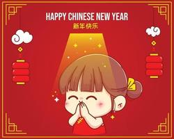 Cute girl Makes a wish on happy chinese new year cartoon character illustration vector