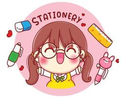 Cute girl with stationery cartoon character illustration vector