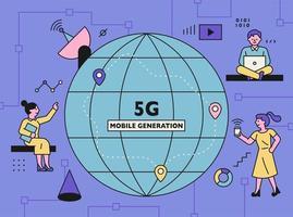 5G internet technology concept poster. vector