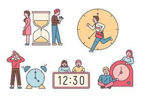 carácter de concepto de tiempo y personas. vector