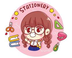 Cute student with stationery cartoon character illustration vector