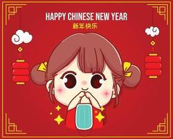 linda chica con mascarilla, feliz año nuevo chino celebración personaje de dibujos animados ilustración vector