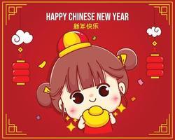 niña feliz sosteniendo oro chino, feliz año nuevo chino celebración personaje de dibujos animados ilustración vector