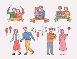 parejas personajes y logos.