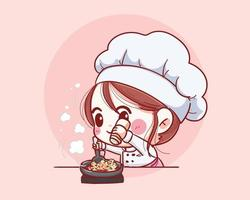sonriente mujer chef. mujer chef se divierte cocinando. dibujado a mano ilustración vectorial vector