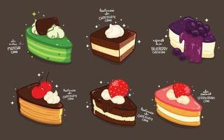 Cake Cartoon set hand drawn style illustration vector