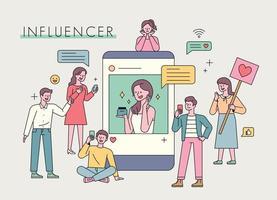 marketing publicitario de influencers. vector