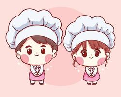 Cute Bakery chefs boy and girl welcome smiling cartoon art illustration vector