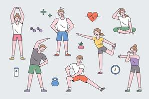 People character exercising. vector