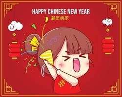 Cute girl holding poppers with confetti chinese new year celebration cartoon character illustration vector