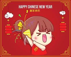 linda chica sosteniendo poppers con confeti celebración del año nuevo chino ilustración de personaje de dibujos animados vector