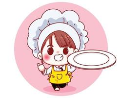 Beautiful chef girl holding an empty plate cartoon illustration vector