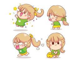 personaje de niña con varias emociones conjunto de dibujos animados ilustración vector