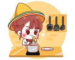 lindo chef cocinando en la cocina en casa en méxico ilustración de personaje de dibujos animados