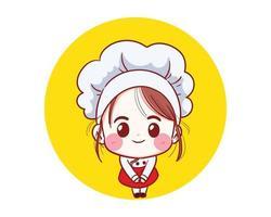 Chef girl Smiling happy vector illustration