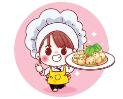 Chef cute with Spicy meatball salad cartoon illustration vector
