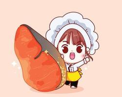 Cute chef and salmon steak cartoon illustration vector