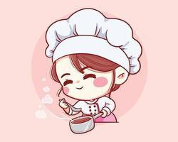 Cute Bakery chef girl taste smiling cartoon art illustration vector