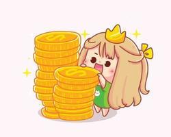 Girl with coins cartoon illustration vector