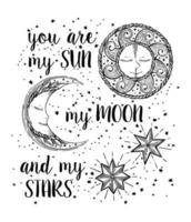 Hand drawn Sun, Moon and Stars in vintage style vector
