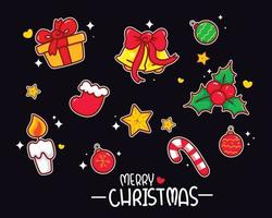 elemento de navidad conjunto colección mano dibujar ilustración