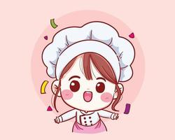 Cute chef girl Smiling in uniform welcome vector