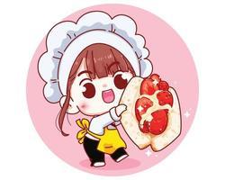 Cute chef with Strawberry sandwich bread cartoon illustration vector