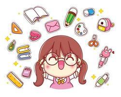 niña linda feliz con ilustración de personaje de dibujos animados de papelería