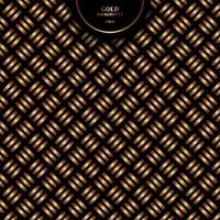 Abstract gold geometric cross pattern bold line on black background and texture. vector