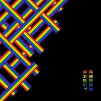 Abstract geometric lines pattern rainbow stripe overlapping on black background. vector