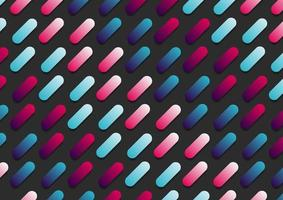 Abstract pink and blue gradient color rounded line diagonal pattern on black background. vector